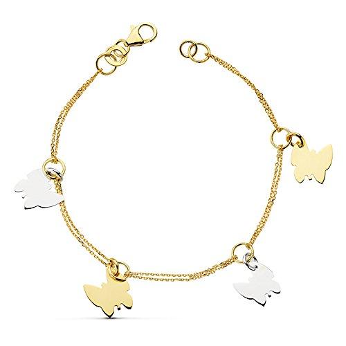 Alda Joyeros Pulsera de Mujer Oro Bicolor 18k Charms Mariposas