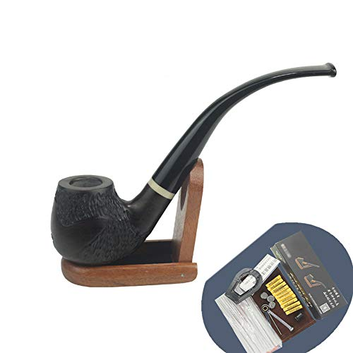 Pipa in legno per tabacco da fumo, filtro a carbone attivo da 9 mm a manico lungo, con accessori, A2