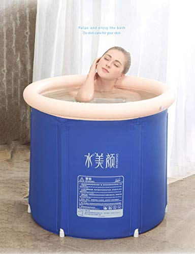 Inflatable Portable Bathtub, Blue Durable Soaking Bath Tub, Freestanding Inflatable Pool Bathroom Home Spa for Adult and Baby(with Air Pump) (Size : S) …