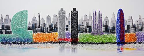 Cuadro Pintado Perfil de Barcelona 150x60 cm, con Piedras Brillantes