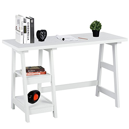 Writing Computer Desk Laptop Table White Trestle Home Office Desk Study Reading Desk Workstation with 2 Open Tiers Shelves with Hutch