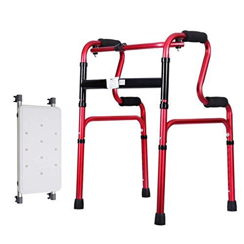 FMOGE Gehhilfe, leichte 2,2 kg Faltbare Rollator Gehhilfe ohne Rad Vier Beine Gehstock Stehender Toilettenrahmen Dusch- / Badehocker |Einstellbare Höhe 70-78cm,Krücken
