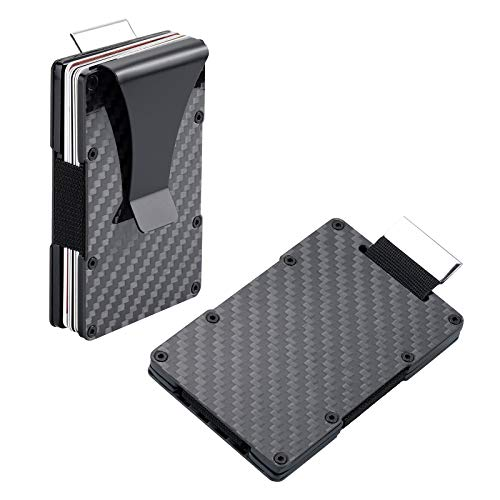 Carbon Fiber Wallet RFID Blocking Anti-theft Minimalist Convenient Pullout Tab Credit Card Holder for Men