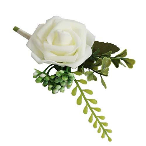 kowaku Broche de Flores Rosas Ramillete para El Ojal de La Boda para El Novio Padrinos de Boda Novia - Blanco, Individual