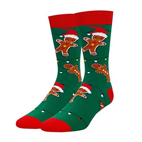 Zmart Men's Cookies Gingerbread Socks Funny Crazy Christmas Socks in Green Gift
