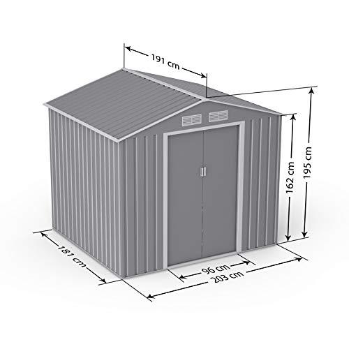 BillyOh Ranger Apex Metal Shed with Foundation Kit | Metal Garden Storage | 7x6 Garden Shed - Light Grey