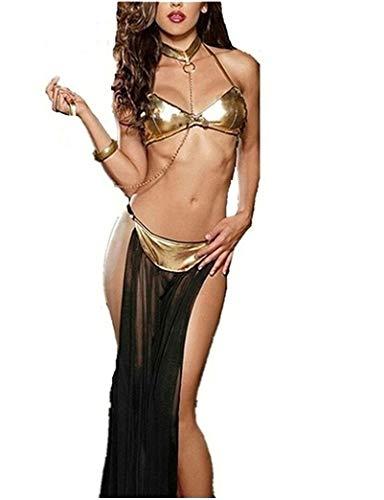 Flydo Exotic Apparel Discoteca Vestido Cosplay Sexy Lencería Mujeres Sexy de Cuero sin Respaldo Vestidos Clubwear Mini Vestido de Club Nocturno (Ropa)