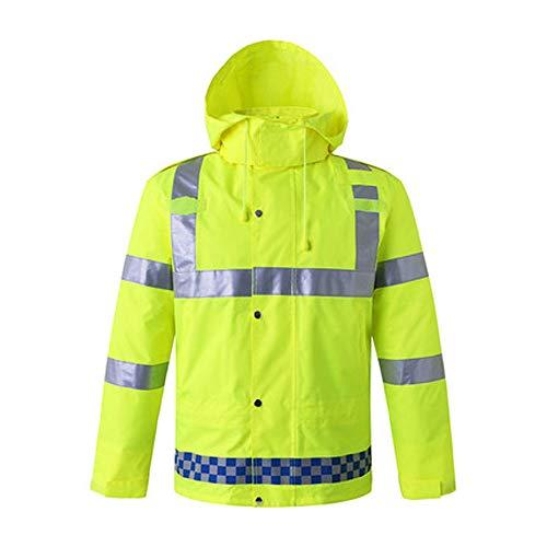 QARYYQ waterdicht reflecterend pak voor volwassenen, waterdicht, fluorescerend geel.