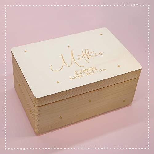 Personalisierte Erinnerungsbox Box Aufbewahrungsbox Erinnerungskiste mit Namen Holzkiste für Kinder Geschenkbox Junge Mädchen Sternenhimmel Weihnachten Geburtstagsgeschenk Einschulung hellomini