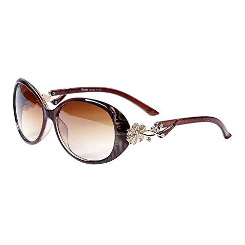 LianSan Polaroid occhiali da sole da donna firmati ovale di moda da donna con fiore dorato