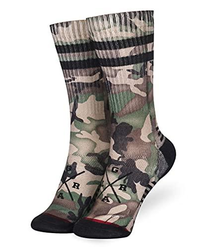Loose Riders Socken Camo Forest – Damen Herren – für Downhill, Mountainbike, MTB, Fahrrad, BMX, Streetwear Mid Socks, Performance Crew Socks, One Size