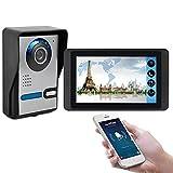 Wifi Video Doorbell, Video Door Phone Surveillance Intercom Kit, Night Vision Security Camera + 7 Inch Display, Monitor APP Unlock