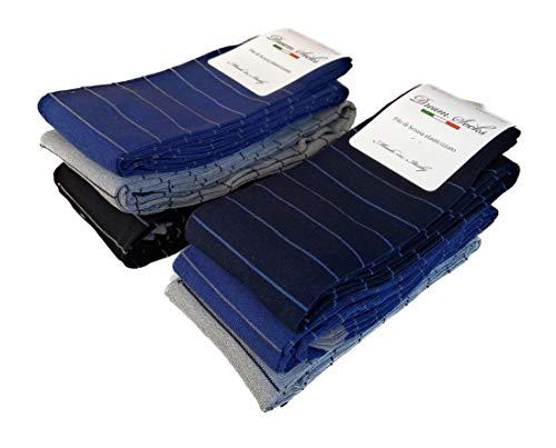 DREAM SOCKS 6 paia calze lunghe da uomo in cotone filo di scozia elasticizzate,calze lunghe molto leggere made in italy rimagliate a mano, disponibili vari assortimenti (43/46, set. LIGNES SIMPLES)