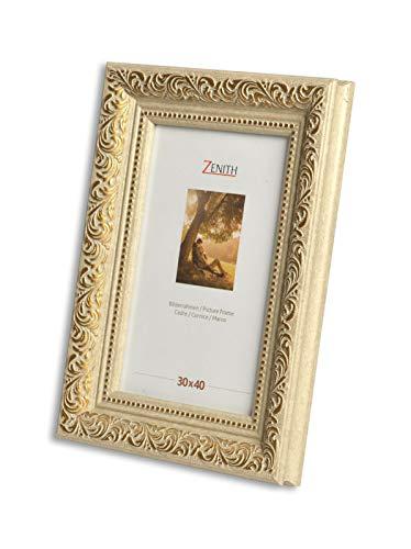 "Victor antiker Bilderrahmen ""Rubens"" beige Gold in 30x40 cm - Leiste: 30x20 mm - Echtglas - barock"