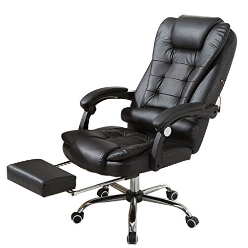 US Fast Shipment Quaanti High Back Leather Office Chair,Height Adjustable Executive Recliner Computer Desk Chair Gaming Racing Chair with Footrest Lumbar Support and Headrest,Ergonomic (Black) chair footrest gaming
