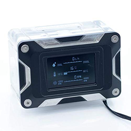 FANHE Wasserkühlung Temperatursensor, PC-Wasser-Kühle Computer-Strömungsgeschwindigkeit Temperaturerfassung LED-Anzeige für Wasserkühlung,Silber