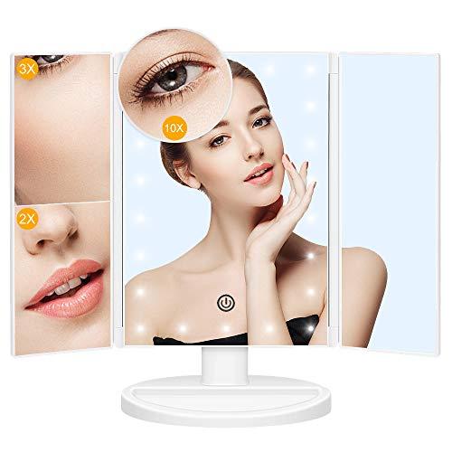 JessLab Kosmetikspiegel, LED Dreifach Faltbarer 10X 3X 2X 1X Vergrößerungs Kosmetikspiegel LED-beleuchteter Touchschalter Kosmetikspiegel Schnurloser Rasierspiegel mit doppeltem Netzteil, Weiß