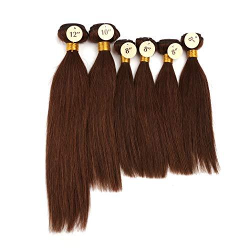 "Brazilian Straight Human Hair 6Pcs Bundles 8""x4pcs,10""x1pc,12""x1pc Total 200G 100% Unprocessed Virgin Human Hair Weave Bundles #4 Medium Brown Remy Hair For Wig Making (#4)"