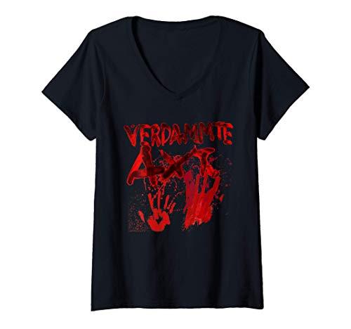 Damen Horror Clown blutige Hände Blutspritzer Zombie verdammte Axt T-Shirt mit V-Ausschnitt