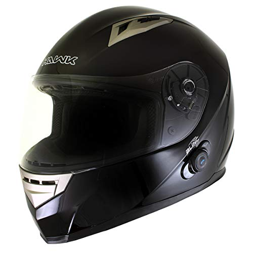 Hawk H-510 Glossy Black Bluetooth Full Face Motorcycle Helmet - Small