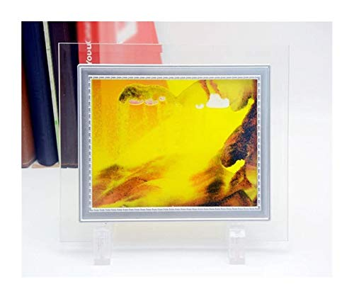Jszzz Mini 5 Zoll orange Sand in Bewegung Fließende Sand Sandscapes Dynamische Sand Bilderrahmen Abstract Art Glass Sand P