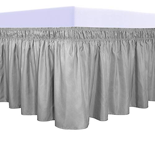 PureFit Wrap Around Ruffled Bed Skirt with Adjustable Elastic Belt