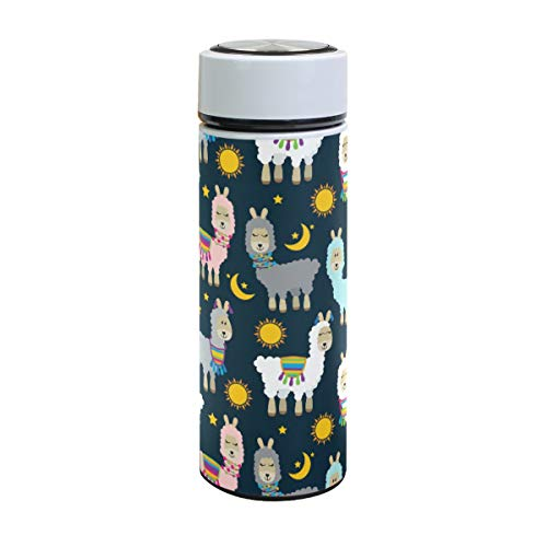 Ahomy Vakuum-isolierte, auslaufsichere Thermobecher, bunte Lama und Kaktus, Sonne, Mond, Sterne, Edelstahl, 500 ml