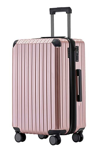 Münicase M816 TSA-Schloß Koffer Reisekoffer Trolley Kofferset Hardschale Boardcase Handgepäck (Rosagold, Großer Koffer)