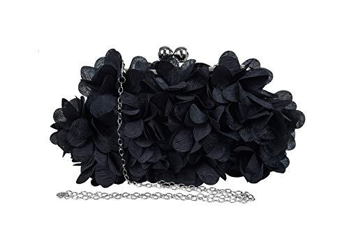 Petal Ornamento Besar Lock Boda Fiesta Noche Bolso Con Cadena Mujer