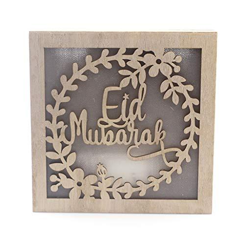 KunmniZ Ramadan Eid Mubarak Islamic Lamp Festival Square Rectangle Wood Ornament Light Warm Gift