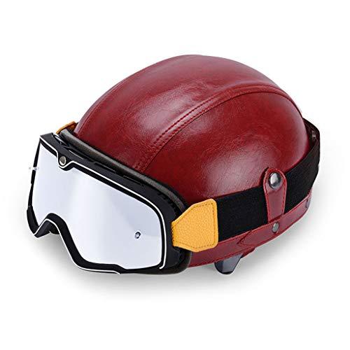 DCLINA Motorrad Offener Retro Halbhelm Jethelm Roller Lederhelm Unisex Scooter-Helm...