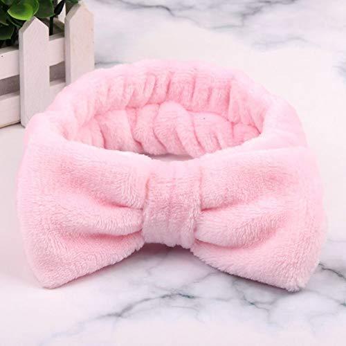 SSB-TOUDAI, Femmes Maquillage Coral Polaire Bandeau Lavage Visage Doux Titulaire De La Cheveux Élastique Top Noeud Bandeaux for Les Femmes Fille Chapeaux Cheveux Accessoires (Color : Pink)