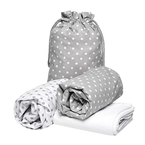Peek-A-Boo Next2Me and Lullago Crib Fitted Sheets x2 + Waterproof Mattress Protector x1, 100% Oeko-Tex Cotton,Set of 3, White and Grey Polka Dots, Size 83 x 50 x 5 cm. Made in EU. GO ECO!