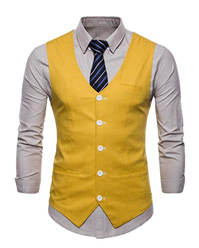 Hombre Un Solo Pecho Chaleco Slim Fit Traje De Vestir Sin Manga Casual V-Neck Blazers Amarillo M