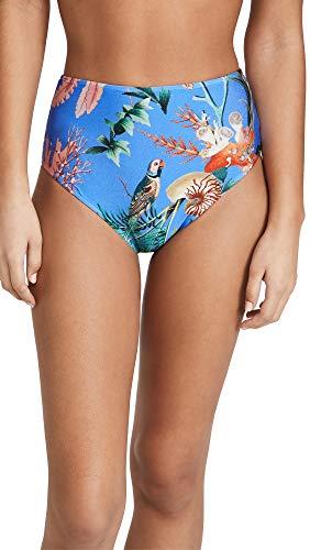 PatBO Women's Oasis High Waist Bikini Bottoms, Blue, Medium