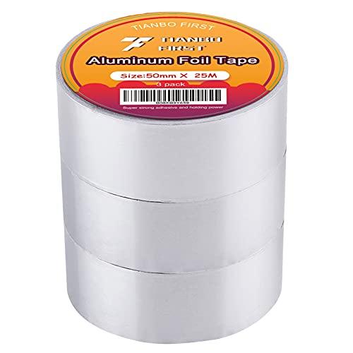 Aluminium Klebeband 50mm x 25m - 3 Rolle Aluband Alu-Klebeband hitzebeständig zum Abdichten und Dämmen Isolierband von TIANBO FIRST
