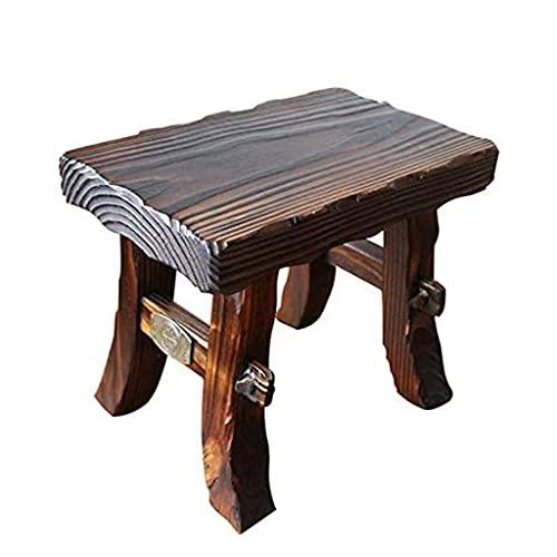 Taburete de madera maciza taburete cuadrado heces enano taburete de zapatos taburete sofá banco de madera - engrosado hogar retro banco de madera salón zapatos cambiar taburete