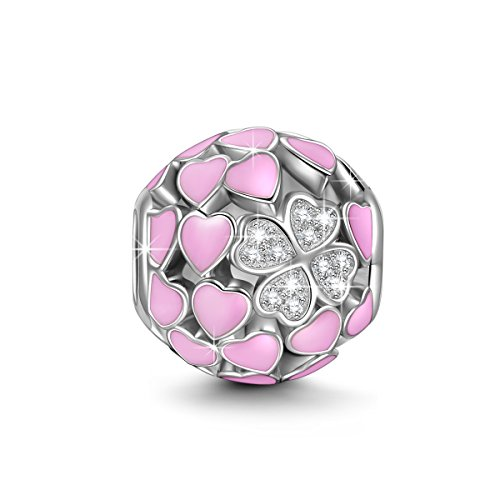 NINAQUEEN Charm fit pandora charms Pink Love Heart Women's jewellery best gifts with Jewellery Box 925 Sterling Silver Antibacterial Properties