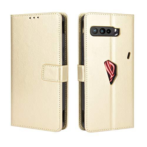 Lederhülle für Asus ROG Phone 3 ZS661KS Hülle, Flip Hülle Schutzhülle Handy mit Kartenfach Stand & Magnet Funktion als Brieftasche, Tasche Cover Etui Handyhülle für Asus ROG Phone 3 ZS661KS, Golden