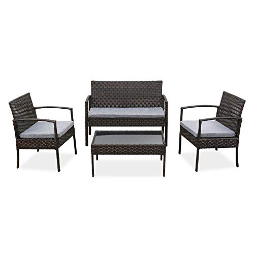 braw1store Best Choice products4 PCS Outdoor Patio Rattan Wicker Furniture Set with Table Sofa Cushioned Light Grey
