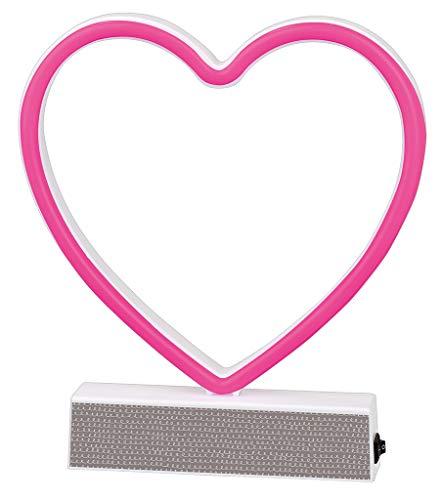 Neon-Leuchte Herz Happy me | LED Deko-Lampe mit Standfuß | Leuchtet rosa pink