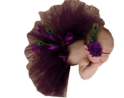 Sunrise Newborn Baby Outfits Photography Props Headdress Tutu Skirts (One Size, Peacock Feathers)