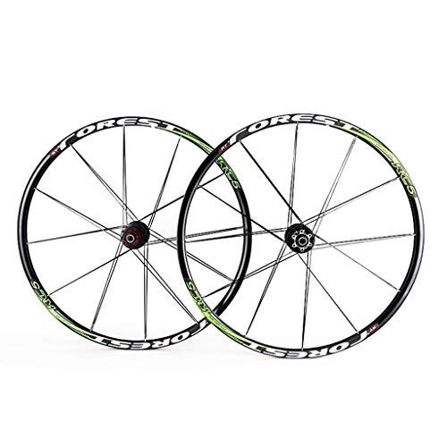 Ruedas Juego De Ruedas De Disco De Bicicleta MTB De 26/27.5 Pulgadas Llanta De Doble Pared Compatible con 24 / 24H QR 7 8 9 10 11 Velocidad (Color : Green, Size : 26inch)