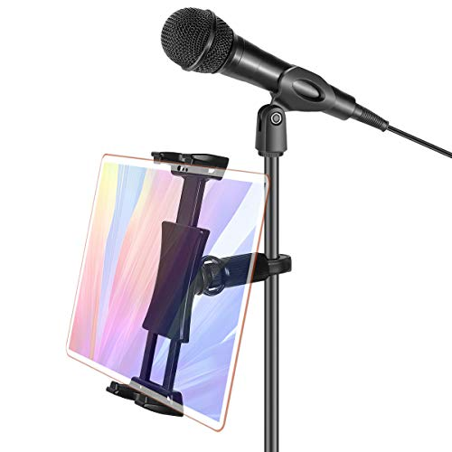JENMV Adjustable Mobile Phone Tablet Holder, Portable Mic Iphone Ipad Stand For Microphone Stand/Treadmill/Car Headrest/Bike, 360°Rotatable Tablet Tripod Mount Adapter For 4.7-12.9' Tablets Smartphone