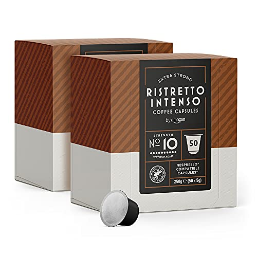 by Amazon Cápsulas Ristretto Intenso, compatibles con Nespresso - 100 cápsulas (2 x 50)