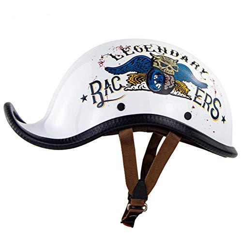 Casco media concha vintage Cascos moto cara abierta retro Gorra Scoop Helmets Hebilla liberación rápida Hombres Mujeres Bicicleta Ciclomotor Scooter Casco béisbol Aprobado ECE,J,XL
