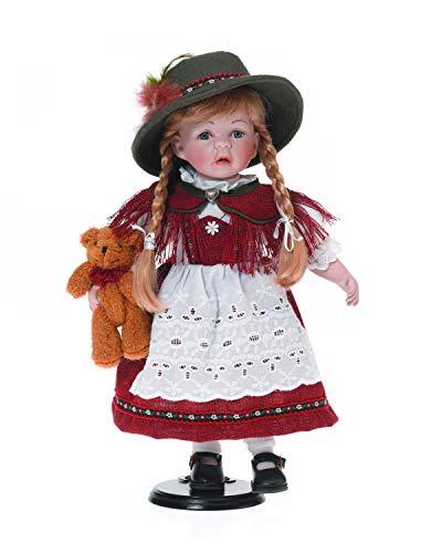 Sammlerpuppe, Porzellanpuppe, Trachtenpuppe Tracht Puppe Mädchen 42cm 119022