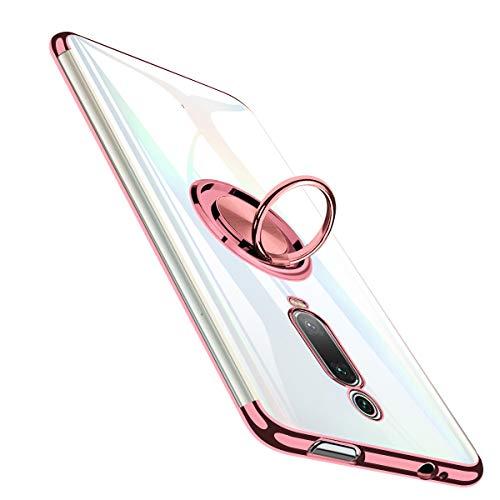 Hülle für Xiaomi Mi 9T, Xiaomi Mi 9T Pro Hülle, Transparent TPU Dünne Schutzhülle Weiche Silikon Hülle Handyhülle mit 360 Grad Ring Stand für Magnetische Autohalterung, Stoßfest Klar Cover - Roségold