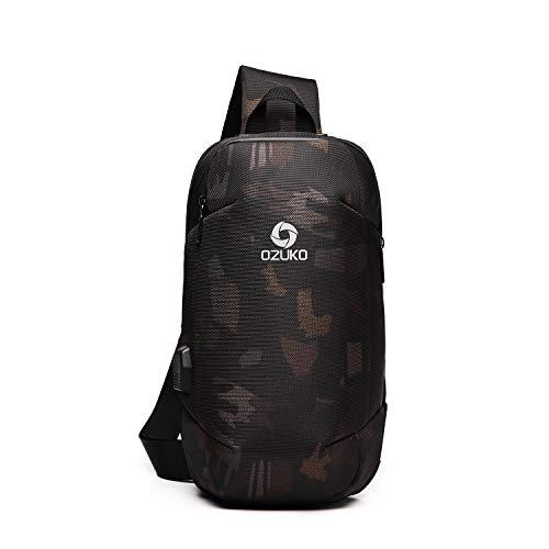 FANDARE Herren Brusttasche Schultertasche Sling Bag Rucksack mit USB Umhängetasche Sporttasche für Wandern,Abenteuer,Sport, Reisen und Joggen Wasserdicht Polyester Camo