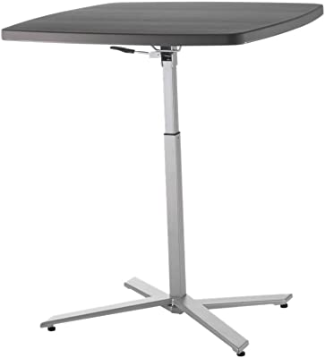 National Public Seating Cafe Time Adjustable-Height Table with Silver Legs